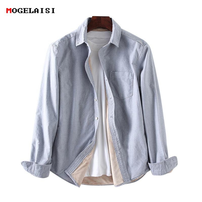 Shirt Shirt Velvet Winter Fleece Spring Male Thick Men Shirts 2019 fxX5qwRn