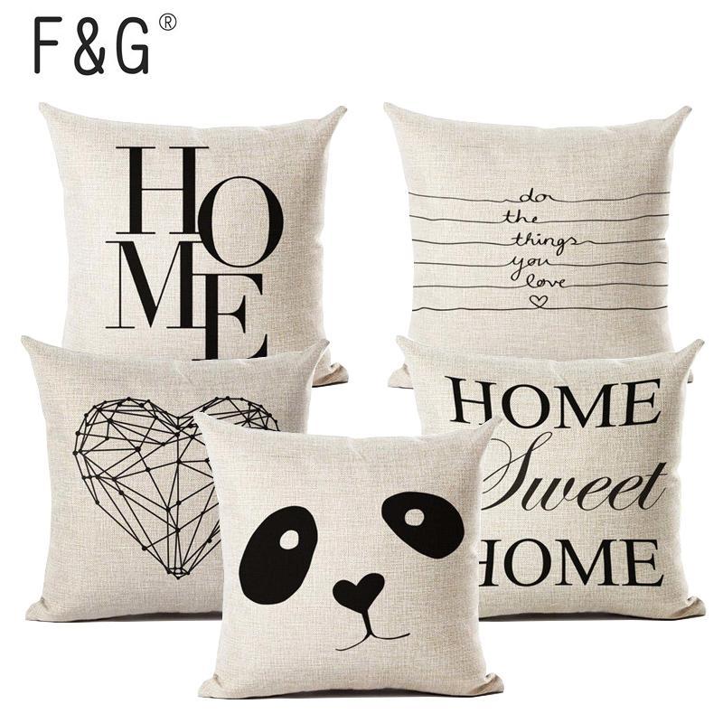 Cushion Covers Cotton Linen Black White Cushion Cover Sofa Nordic Pillow Decor