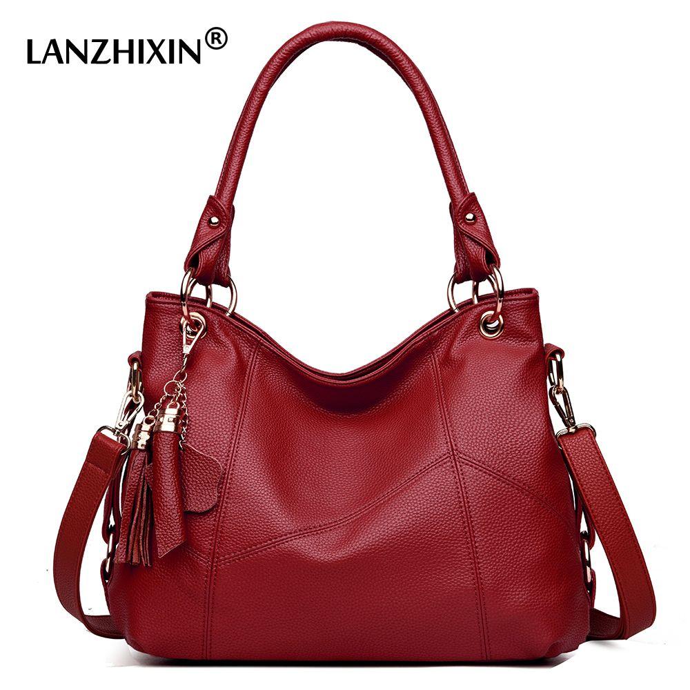8944638bb8 Lanzhixin Women Leather Handbags Women Messenger Bags Designer Crossbody Bag  Women Tote Shoulder Bag Top Handle Bags Vintage 518 Y190124 Toting Leather  ...