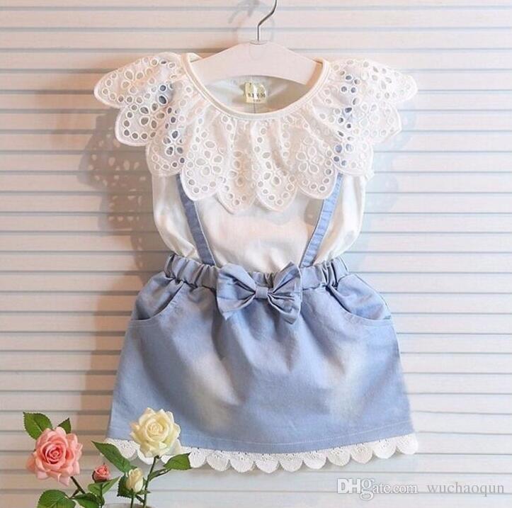 7bca9389b933 Summer Kids Designer Clothes Girls 4t 5t Girls Dresses Lace Cotton Princess  Dresses Boutique Child Clothes Kids Clothing Denim Skirt BY0178 Girl s  Dresses ...