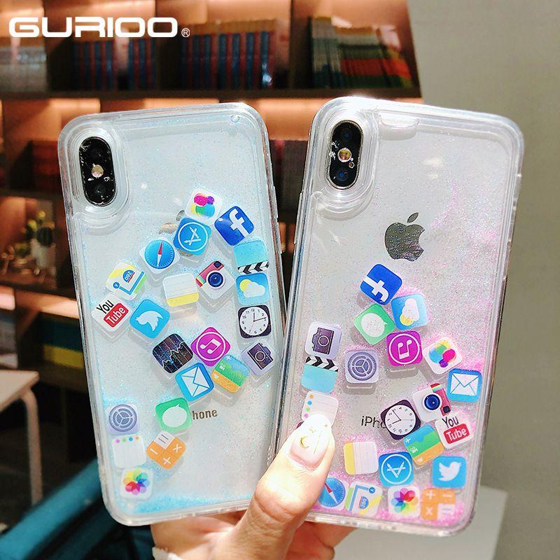 App Moji Liquid Glitter Quicksand Cover Case For iphone 6 6S 7 8 Plus X XR  XS Max Cute Transparent Phone Case Back Cover