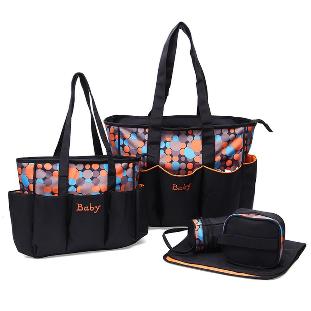Multifuction Dot Pattern Mommy Tote Travel Bags Set 5pcs Diaper Handbag with Changing Pad Bottle Bag