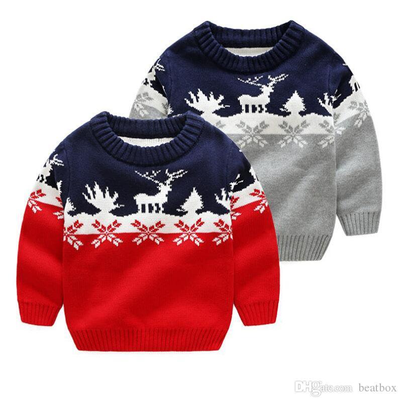 781f9bdbc356 Fashion Autumn Winter Boy Sweater Casual Christmas Knitted Children ...