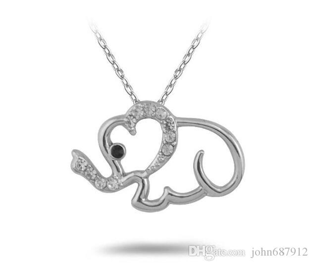 GX021 New Arrival Rhodium Plated Fashion Link Chain Necklaces Carve Cute Elephant With White and Black Crystal Fantastic Gift For Friend