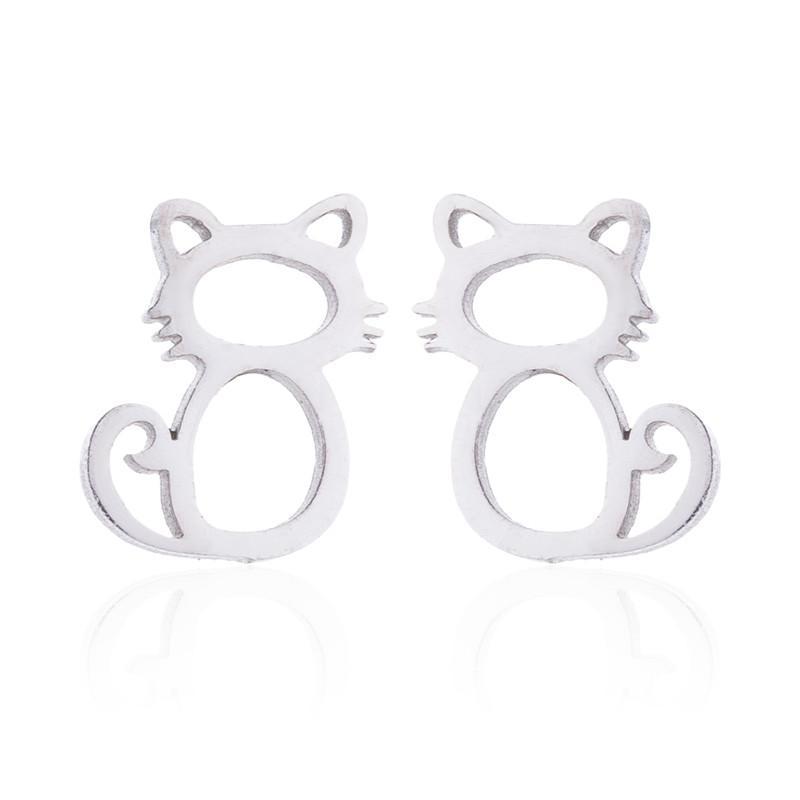 Schmuck Sets Edelstahl Ohrringe Halsketten Set Für Frauen 2018 Tier Hohle Katze Pendent Halsketten Ohrringe Schmuck Sets