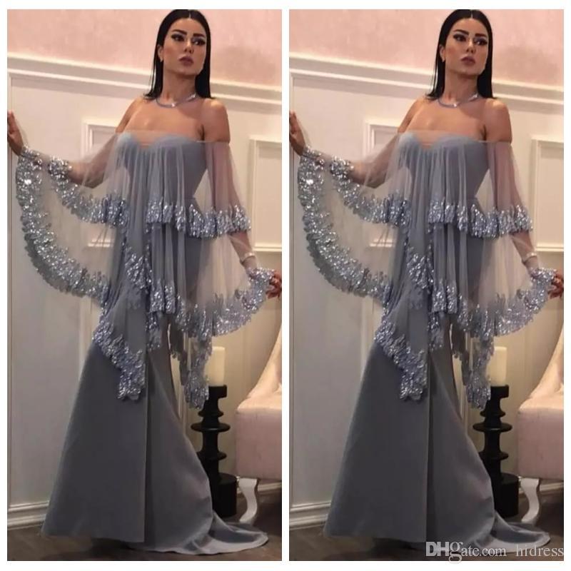 8c9705382473 Acquista 2019 New Sexy Sliver Mermaid Abiti Da Sera Bateau Senza Bretelle  Senza Maniche In Raso Tulle Applique Plus Size Formal Prom Abiti Da Festa  ...