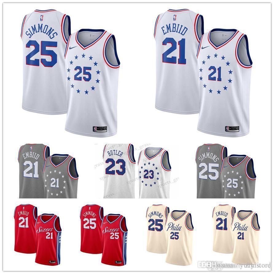 62e071926 2019 Mens 2019 76ers Basketball 23 Jimmy Butler Jersey Philadelphia 21 Joel  Embiid 25 Ben Simmons 3 Allen Iverson Earned Edition Stitched Jerseys From  ...