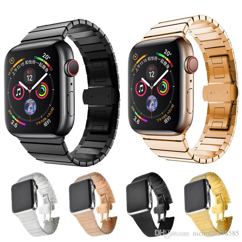 a4a291cc87d Best Stainless Steel Watch Bands Straps For Apple Watch 4 3 2 1 Link  Bracelet For Iwatch 38 40mm 42 44mm Butterfly Clasp Lock Link Bands Iwatch  Leather ...