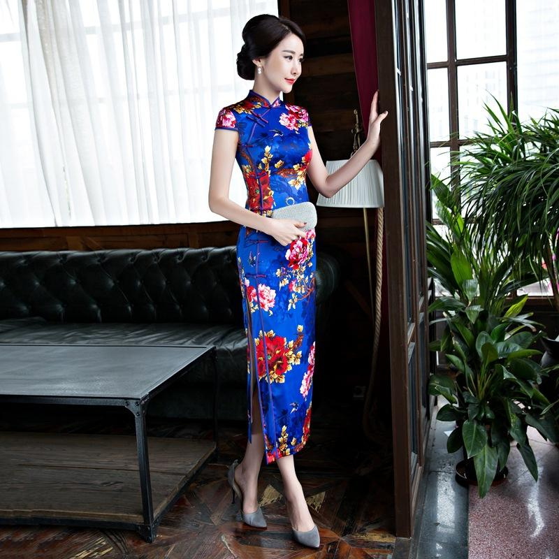 d4e488344e95 Sexy Long Cheongsam 2019 Spring Vintage Chinese Style Dress Fashion ...