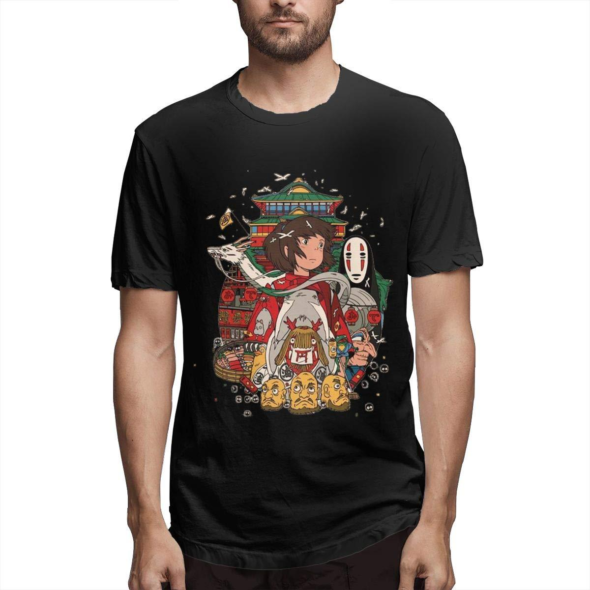 Halo Spirited Away Men's Classic Basic Soft Cotton Short T-Shirt Black Funny Print Tops Men top tee