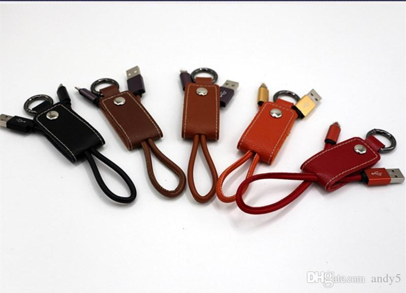Leather Keychain Data Cable 2.1A Type c fast charging Connector Braid Micro USB Cable Lead charger for phone 6 7 x samsung huawei lg G5 V8