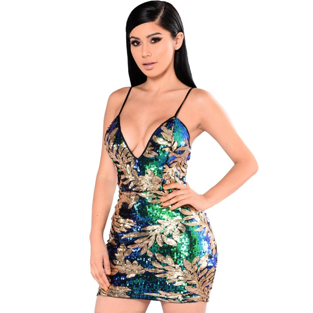6c1b356486 Fashion Sexy Women Sparkling Sequin Dress Plunge V Neck Sleeveless Backless  Bodycon Dress Hot Nightwear Evening Party Clubwear Floral Dress For Women  Black ...