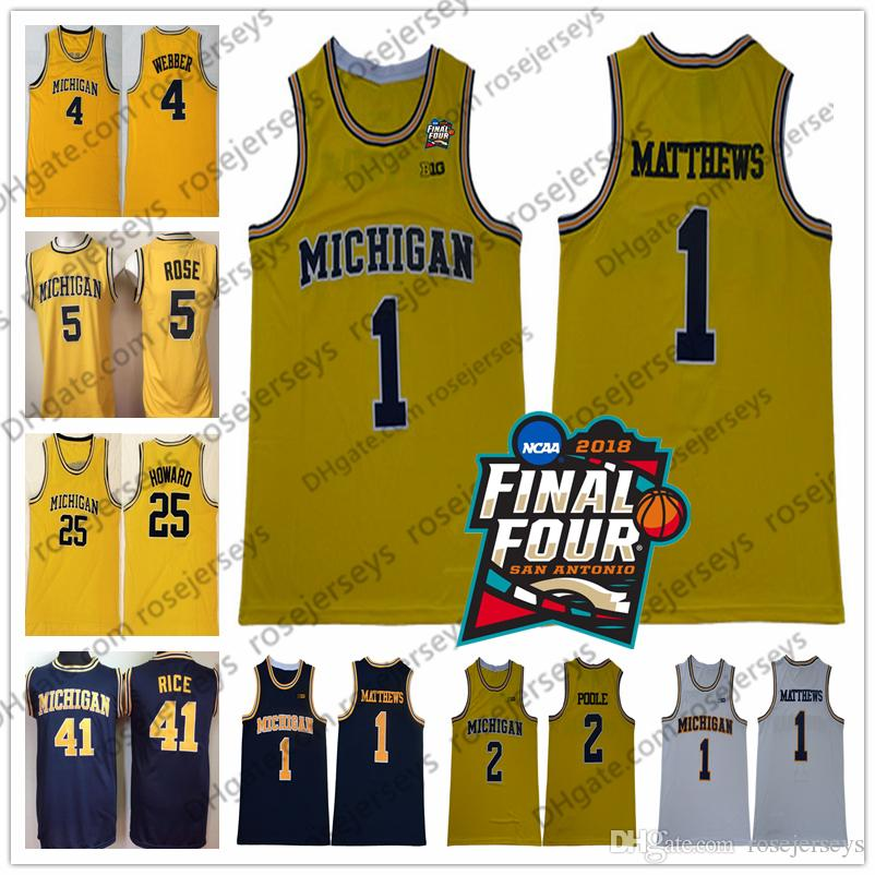 7df662033d9cd1 2019 2018 NCAA Final Four  2 Poole 1 Charles Matthews Michigan Wolverines  Jersey Webber Rose Howard Rice Chris Jalen Dwight Glen Yellow Vintage From  ...