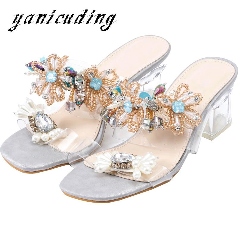 956fe862a Colorful Crystal Woman Gladiator Sandals Summer Slippers Peep Toe Luxury Rhinestone  Flower Clear Square Heels Slides Women Shoes Comfortable Shoes Shoe ...