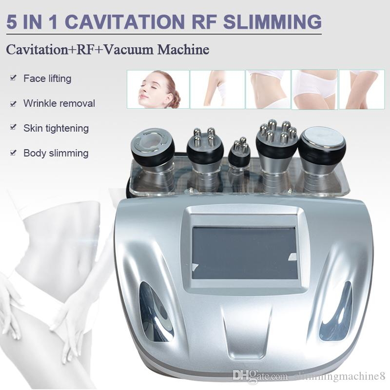 Multifunction ultrasonic cavitation slimming machine rf radio frequency sixpolar rf use for face and body two vacuum handles