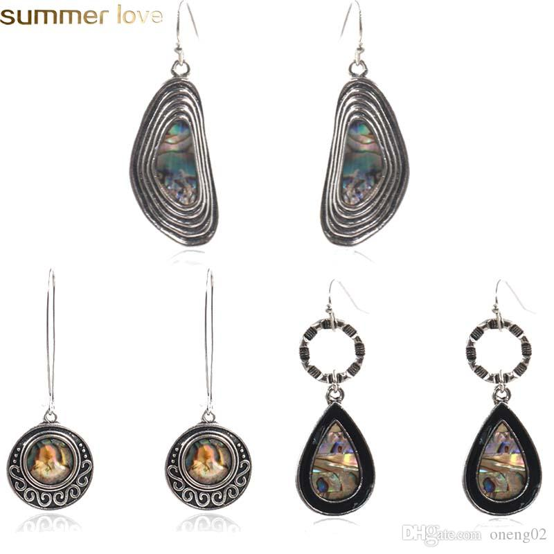 fc53aecc4 Vintage Abalone Shell Dangle Earrings Natural Shell Water Drop Earring For  Women Wholesale Fashion Jewelry