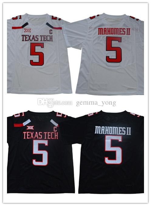 timeless design cab91 358e8 Men s Texas Tech 5 Mahomes II College Jersey Stitched White Black 15  Mahomes Shirts Size S-XXXL,Mix Order
