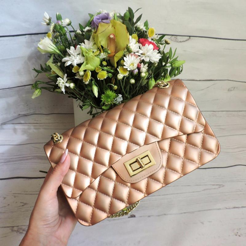 16c411878402 Jollque Mini Jelly Bag Metal Chain Belt Party Famous Brand Shoulder Message Bags  Small PVC Quilted Handbag Gift Child Pink Handbags Hobo Handbags From ...