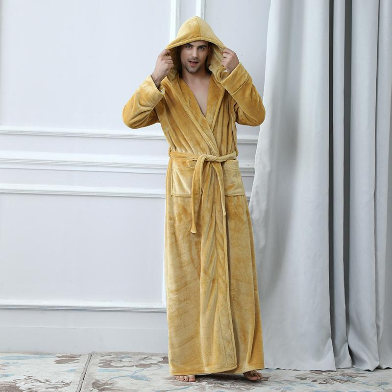 4463662d807 Flannel Robe Male With Hooded Thick Brand Designer Dressing Gown Coral  Fleece Men s Bathrobe Winter Long Robe Mens Bath