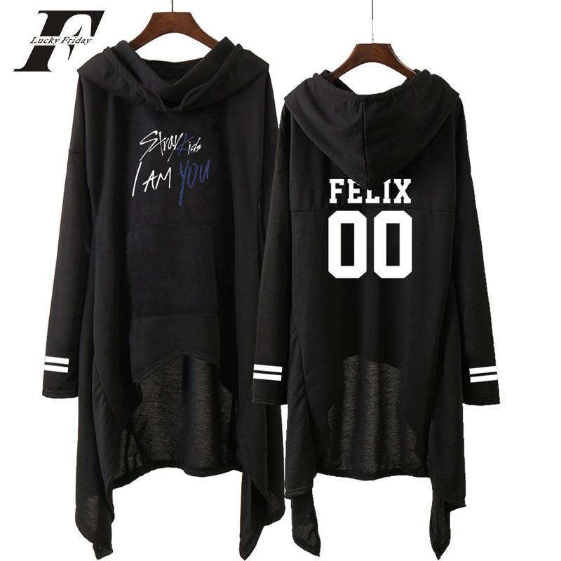 911700a71e5c 2019 Kpop Stray Kids весна черный женский толстовка с капюшоном платье Idol  хлопок одежда ...