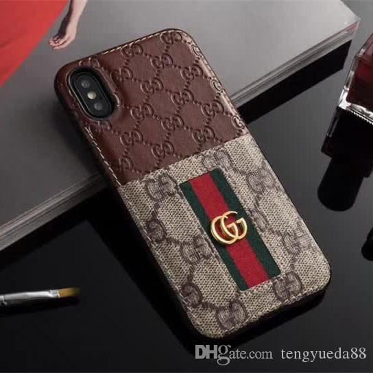 online retailer 37f44 ab48b For Samsung S9 S9plus S8 S8plus S10 S10plus Note8 Note9 Leather Brand Case  Embossing Pattern Card Phone Case for Iphone X XR XsMax 678 Plus