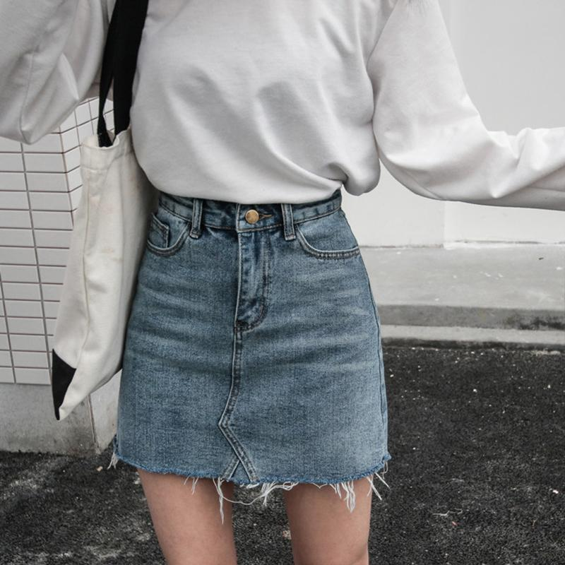 Summer Fashion High Waist Skirts Womens Pockets Button Denim Skirt Female 2018 New All-matched Casual Jeans Skirt Y19060301