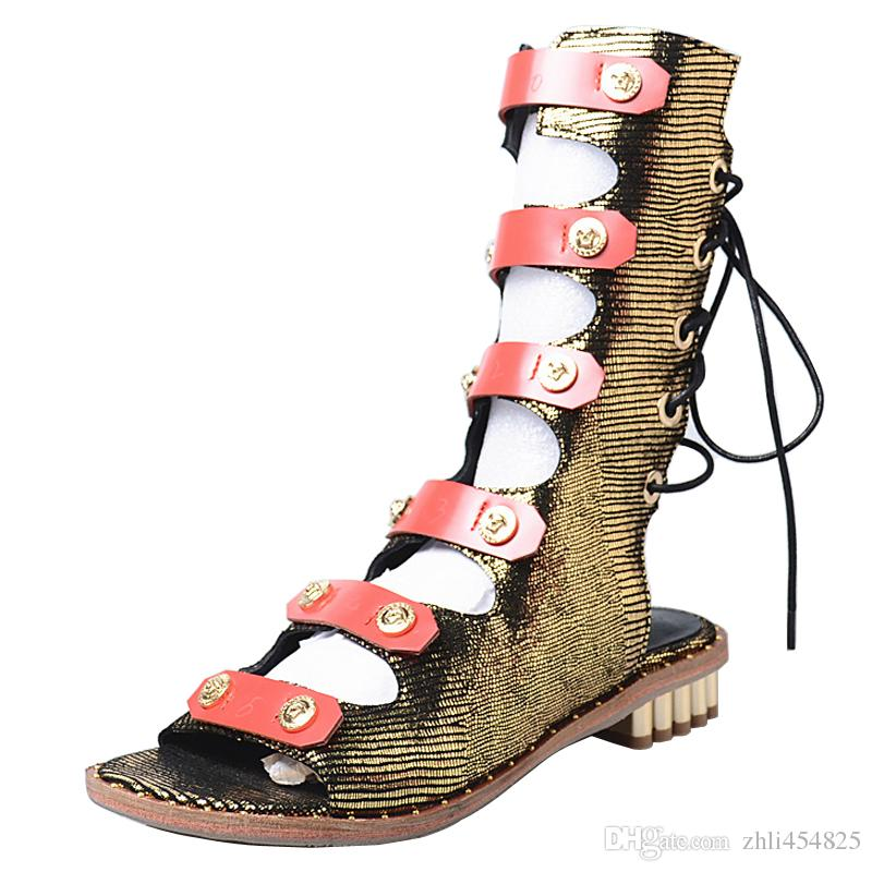96f4a1f9473bf New Design Women Casual Flat Sandals Summer Boots Mixed Color Lace Up  Hollow Out Strap Gladiator Sandals Women Peep Toe Cheap Sandals Summer  Sandals From ...