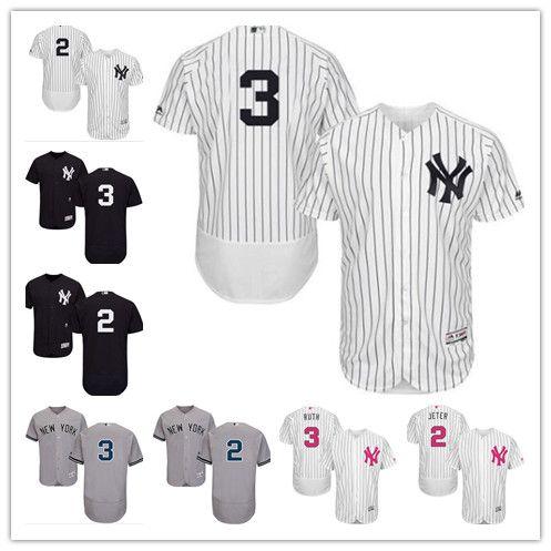 online store 3acbe e49ca custom NY New York Men s women youth Majestic Yankees Jersey #2 Derek Jeter  3 Babe Ruth Home Black Grey White Baseball Jerse