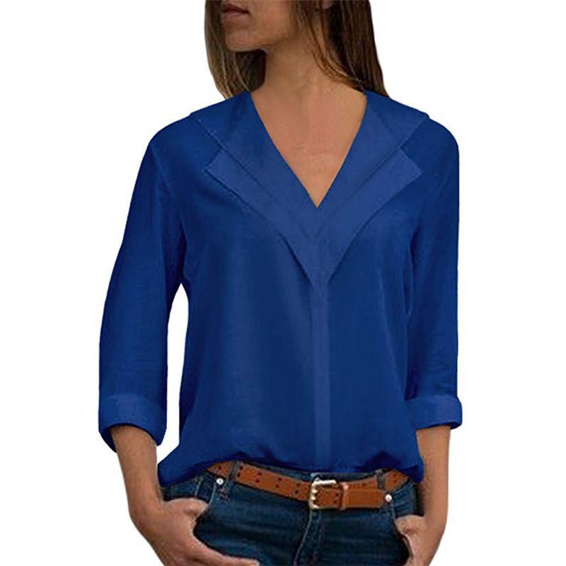 b6ee214d9f Compre Sólido Elegante Com Decote Em V Femme Blusa Outono Mulheres Chiffon Blusa  Senhora Do Escritório Carreira Camisas Plissado Tops Primavera 5XL Plus ...