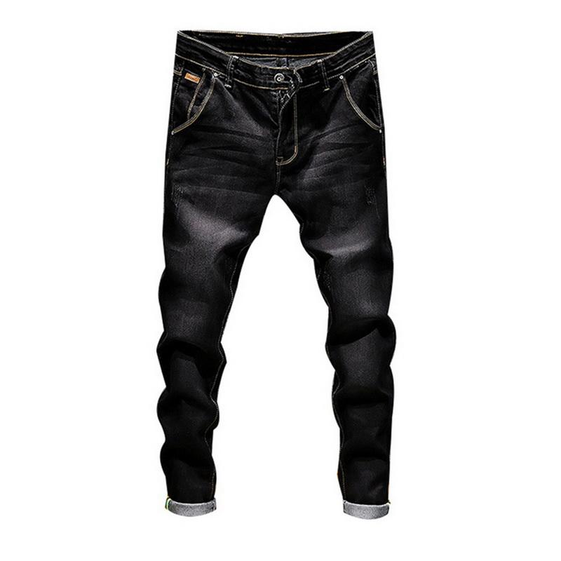 7268dcda9 2019 Jeans de moda para hombre Casual de negocios Pantalones vaqueros del  estiramiento Pantalones de mezclilla flacos de primavera Pantalones para ...