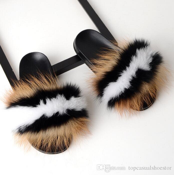 a80f2ab5 Hot Sales Summer Women Fox Fur Slippers Real Fox Hair Slides Female Furry  Indoor Flip Flops Casual Beach Sandals Fluffy Plush Shoes Chukka Boots  Fringe ...
