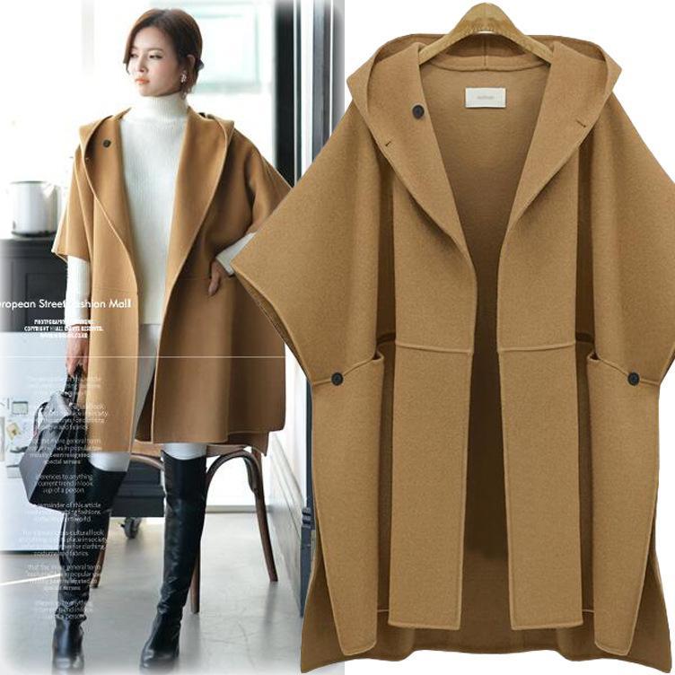 60f00492c805 Woman Hooded Cloak Batwing Sleeve Woolen Cape Overcoat Large Size ...