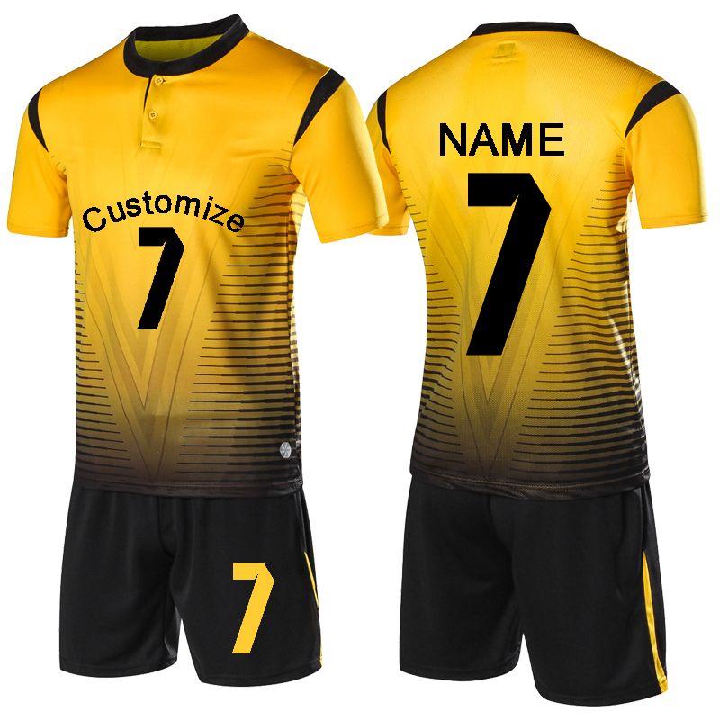 first rate cbf0d 684cd 2019 Football jerseys kids men blank soccer jerseys set survetement  Football shirts boys child button Futbol Training Uniforms set