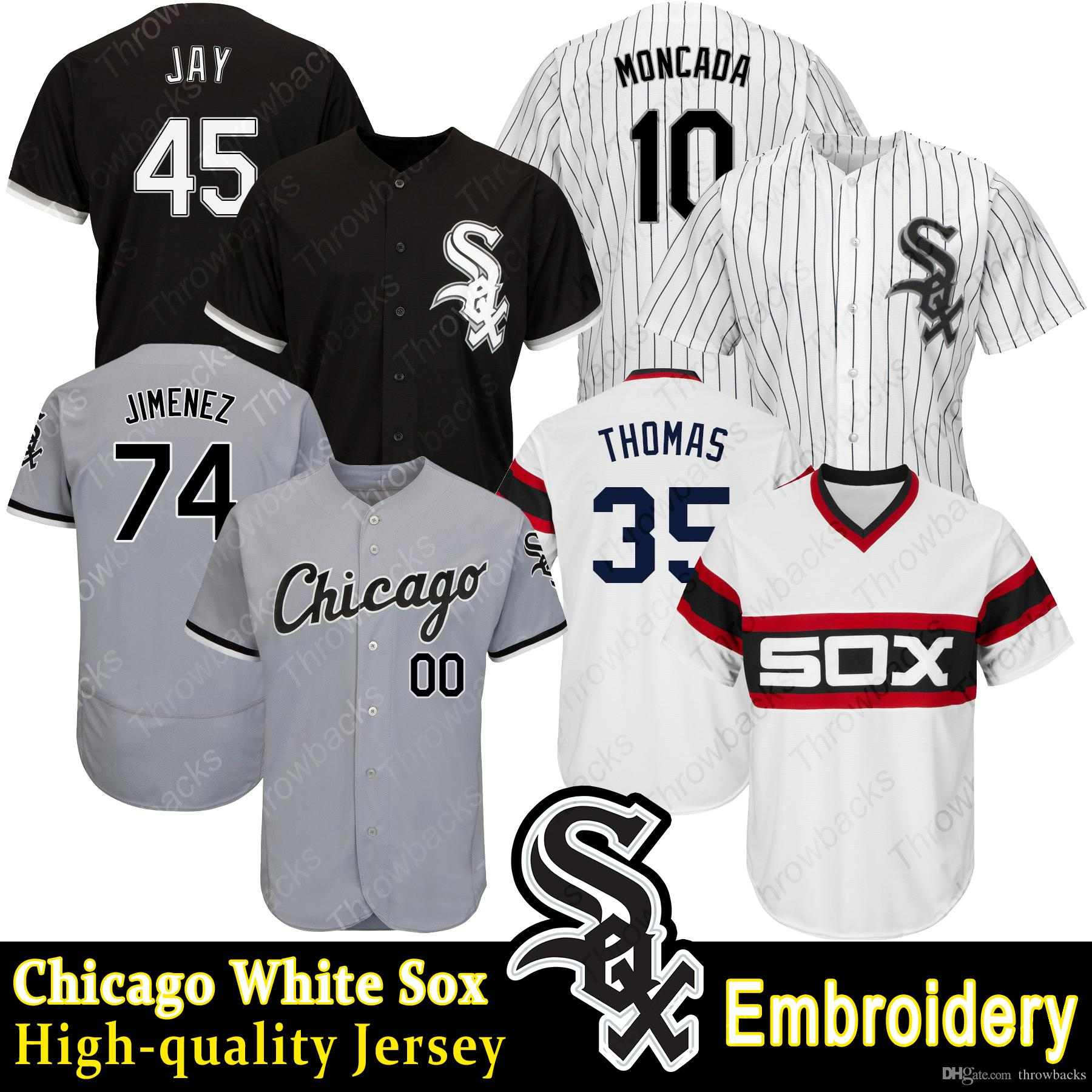 ec4bd5137 2019 Chicago White Sox Jersey Jon Jay Eloy Jimenez Frank Thomas Yoan  Moncada Cool Base Baseball Jerseys From Throwbacks