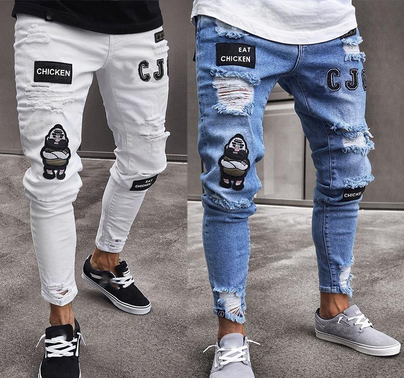 2019 New Arrival Fashion Men s Jeans explosion models men s hip hop high-end tight-fitting hole pants new men s badges slim jeans with S-3XL