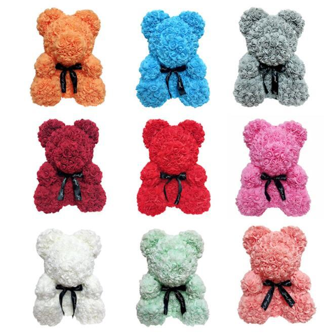 New Fashion Diy Carft Rose Bear Rose Toys Flower Artificial Christmas Gifts For Women Valentines Day Gift Rose Bear Craft Toys