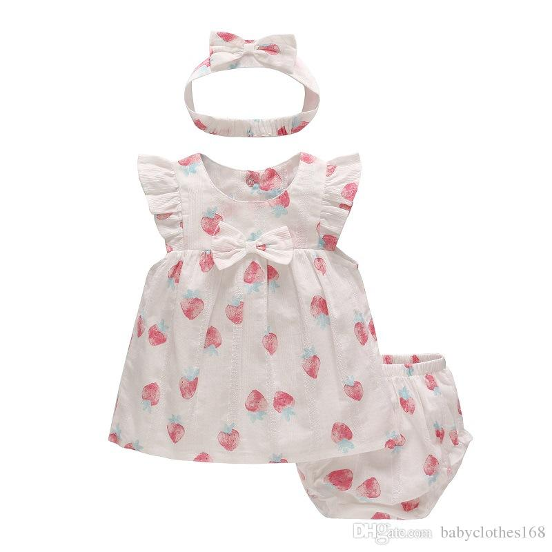 newborn baby clothes Baby Girl Dress Cotton Cute Fruit Painting Dress Set underwear headband 3pcs summer clothing