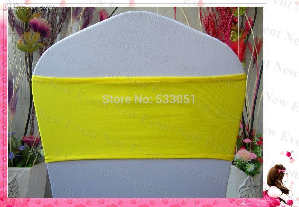 Wholesale- Yellow Color Single Layer Spandex Bands/Lycra Band/Chair Cover Sashes For Wedding Party Banquet Decoration
