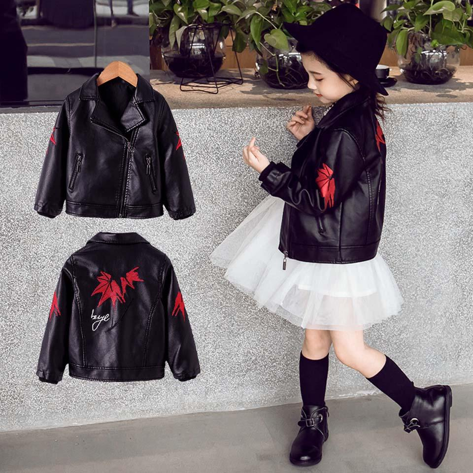 49b89cfff3b2 Spring Kids Clothes PU Leather Girls Jackets Coat Clothes Children ...