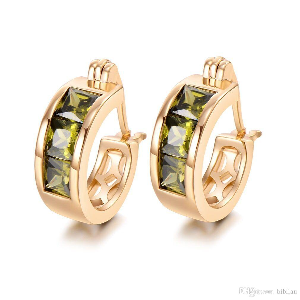 MGFam (676E) 18k Gold Plated Olive Green Square Hoop Earrings For Women Fashion Jewelry Cubic Zircon Good Quality