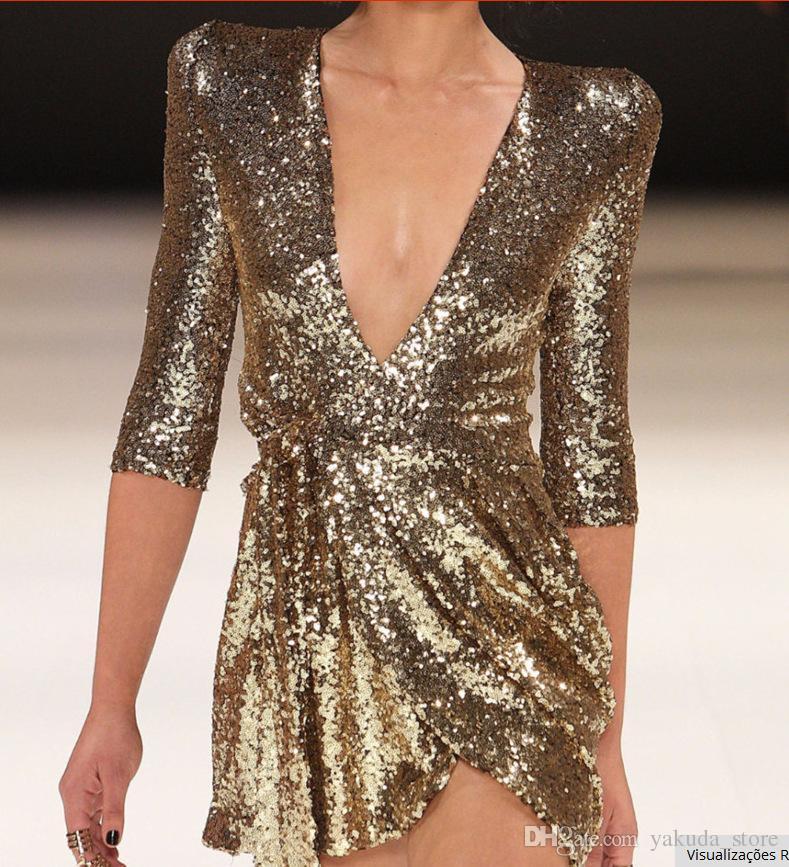 the latest 8c7bf 8194f Abiti con paillettes oro Donna 2019 Autunno scollo profondo con scollo a V  Abito sexy Club Wear Mini Abiti corti Serata serale Party Vestidos