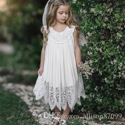 abf7ce71b450 2019 2019 Ins Sweet Baby Girl White Lace Dresses Beach Dress Loose  Embroidery 9M 12M 2T 3T 4T 5T Wholesale Summer New Cheap From Allison87099