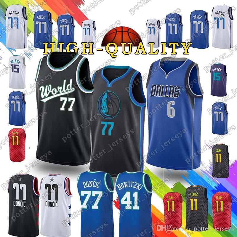 finest selection c092a 63b50 Luka 77 Doncic t shirt Kemba 15 Walker Jerseys Trae 11 Young Jersey Dirk 41  Nowitzki 21 Dominique Wilkins Top quality 2019 new