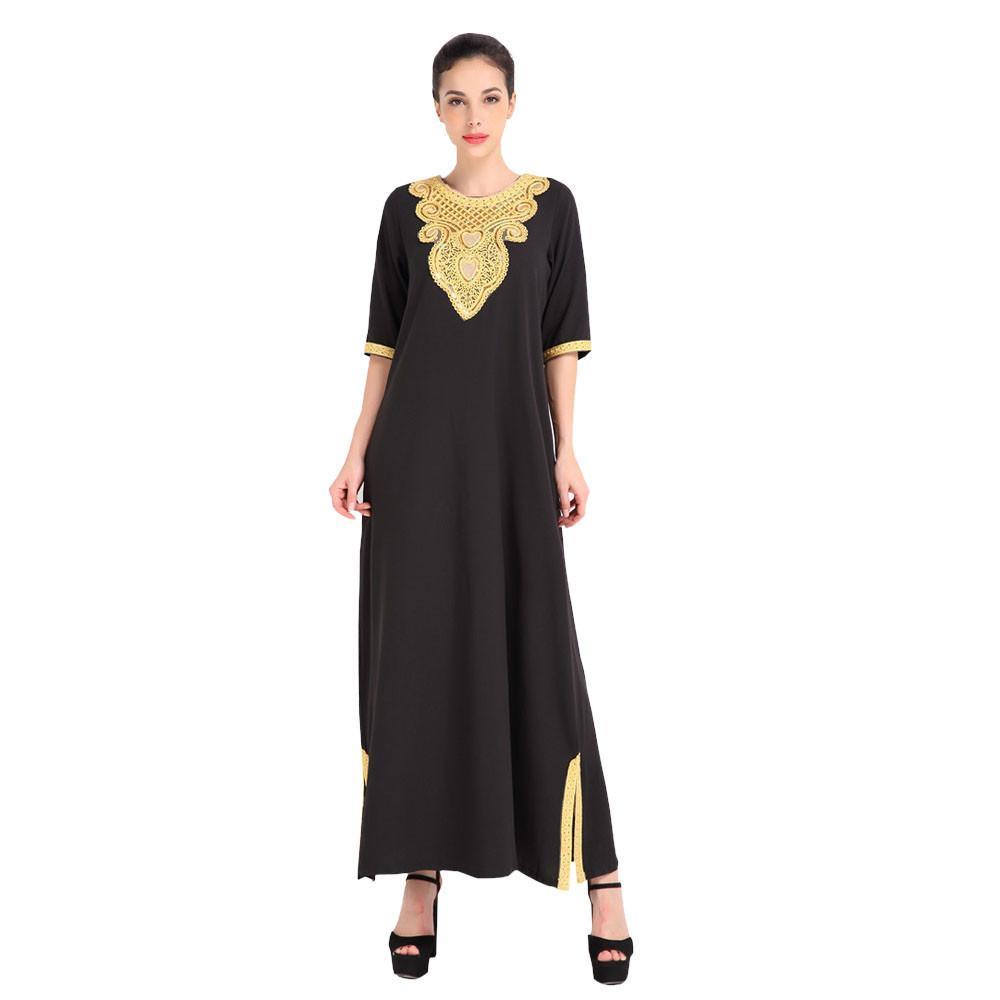 263271e0445c9 Satın Al Moda Kadınlar Için Müslüman Elbise Kadın Sonbahar Elbise Nakış  Bayan Giyim Sıcak Satış Parti Elbise Vestidos Jurken, $43.82 | DHgate.Com'da