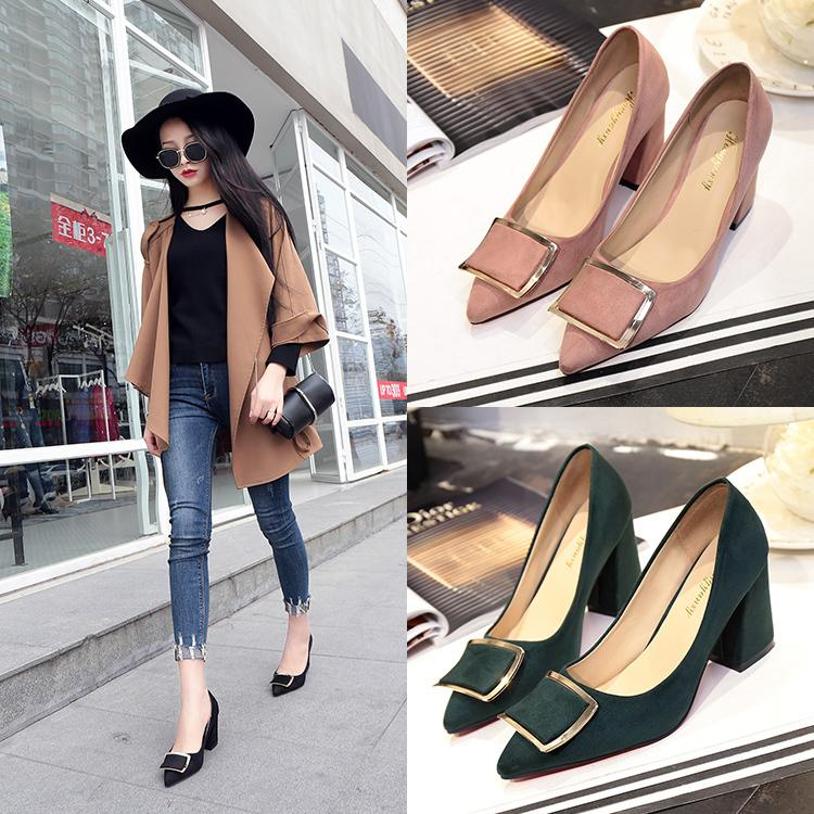 Designer Dress Shoes HOT SELL Black high-heeled spring and 2019 new style suede top girls