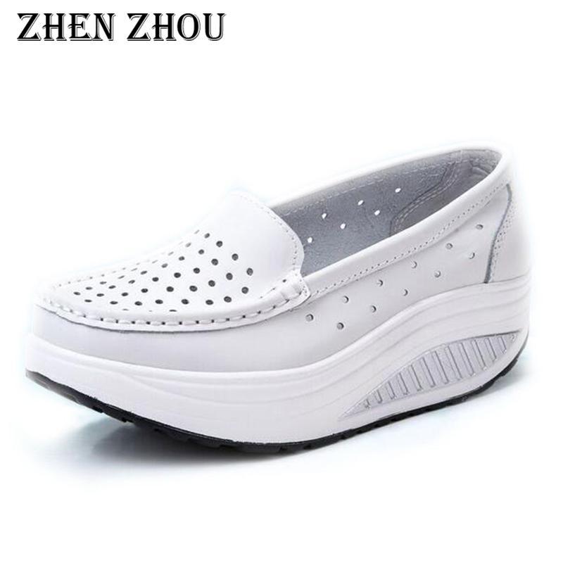 58316b83 Compre Zapatos De Vestir De Diseño Para Mujer Casual 2019 Cuero Genuino Sl  Zapatos De Enfermera Blancos Cuñas De Enfermera Realzar Casual Mujer A  $19.79 Del ...