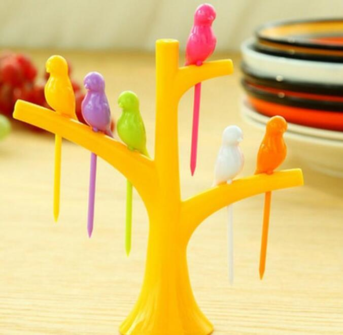 Fruit Fork Set Creative Birds Perch On Tree Practical Plastic Prong Snack Dessert Cake Forks Colorful Home Decor zhao