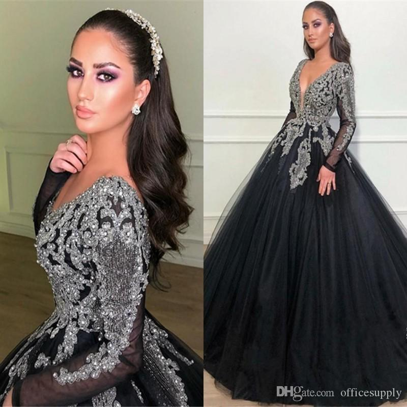 Sexy Ball Gown Long Sleeves Evening Dresses Black V-Neck Classical Appliques Beads Top Prom Quinceanera Dresses Formal Party Pageant Dresses