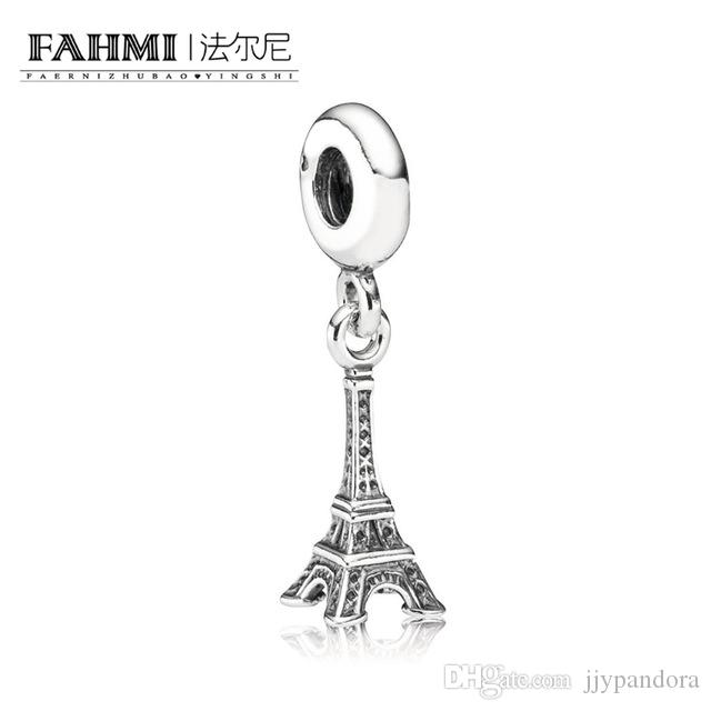 4adf4ad40 FAHMI 100% 925 Sterling Silver New 1:1 Original 791082 Eiffel Tower Paris  Hanging Silver Charm Women's Jewelry