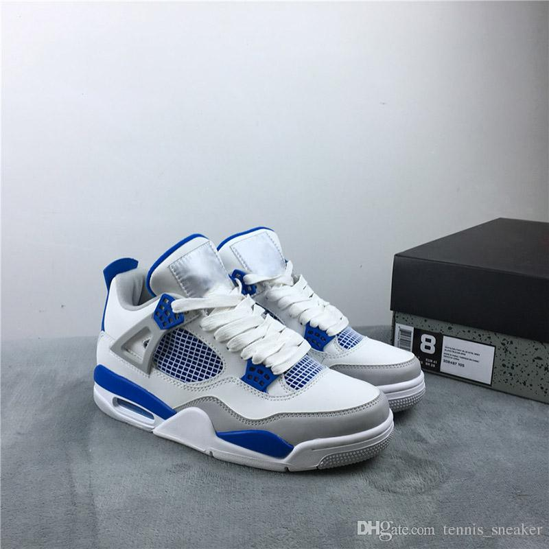 save off 6a7bd 5bede 4 Military Blue Men Basketball Shoes 4s White Military Blue Neutral Grey  Designers Sports With Box 308497-141
